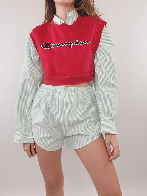 PULL UPCYCLÉ CHAMPION ROUGE