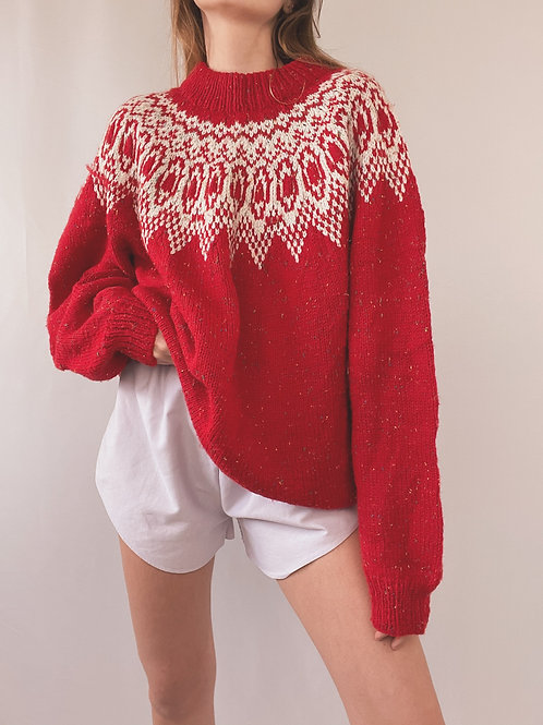 PULL MAILLE ROUGE VINTAGE