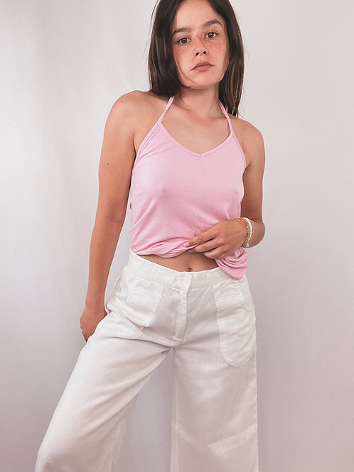 TOP LACETS ROSE