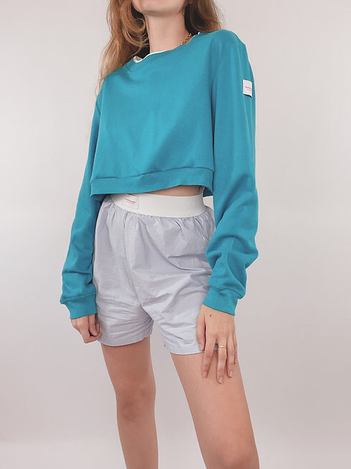 PULL UPCYCLÉ TURQUOISE