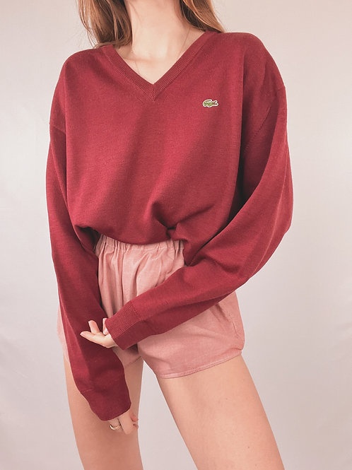 PULL LACOSTE COL V ROUGE