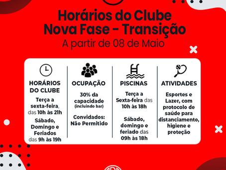 Fase de Transição - Horários do Clube