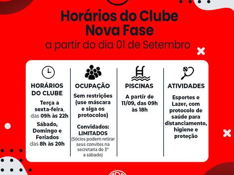 Novos Horários do Clube