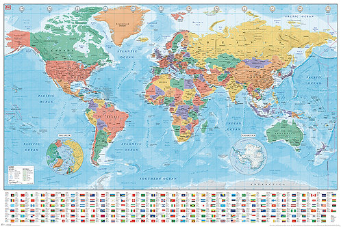Poster G - World Map Flags 2020