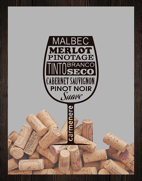 Quadro Vinho - Tipos Taça