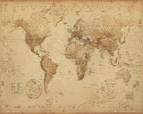POSTER M GB MP 0931 WORLD MAP ANTIQUE