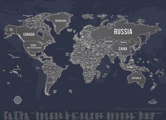 Poster Mapa de Raspar Escuro
