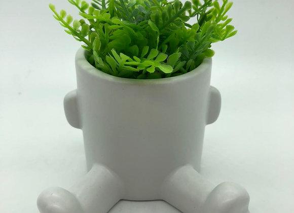 Vaso 9CM Com Planta Branco