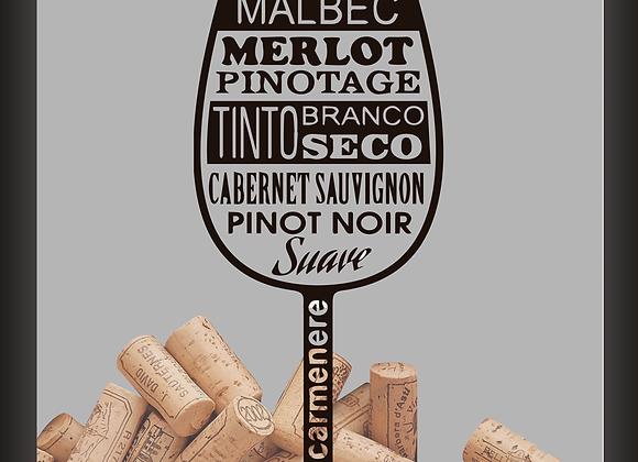 Quadro Rolha - Tipos de Vinho (Taça)