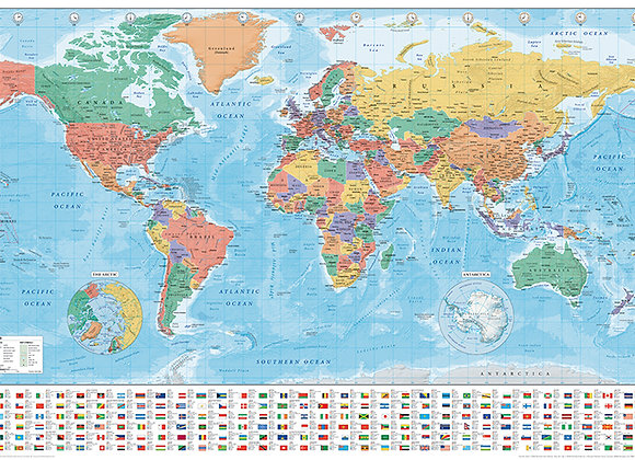 POSTER G- WORLD MAP FLAGS 2020