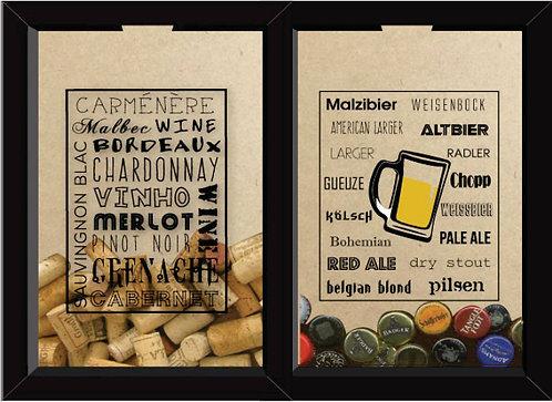 Quadro Duplo - Tipos Cerveja e Vinho
