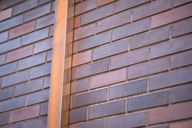 Close up on a copper rectangular gutter