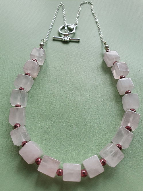 Rose Quartz & Pink Pyrite Necklace with matching Earrings