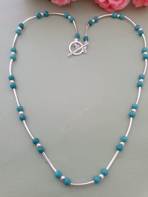 Turquoise 925 Sterling Silver Necklace(15mm Tubes)