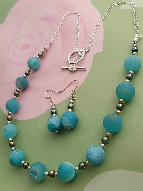 Blue Agate Druzy Necklace & Earrings