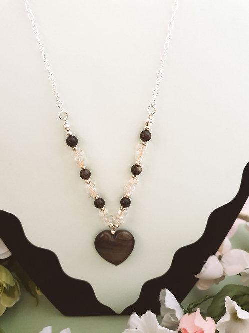 Obsidian, Lemon Quartz & Heamatite Necklace