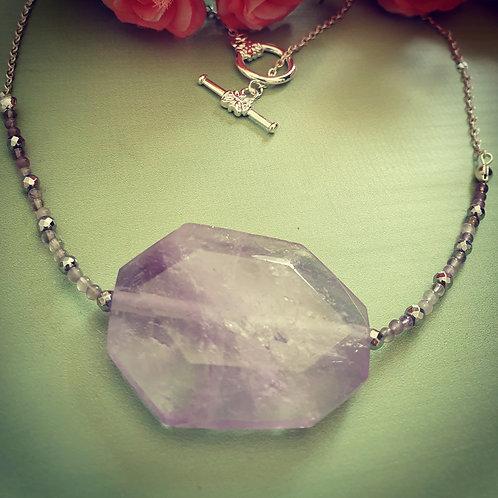 Lavender Amethyst & Heamatite Necklace