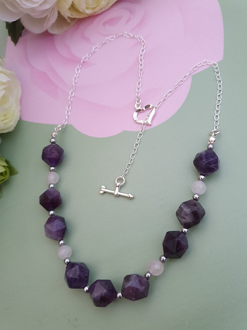 Amethyst, Rose Quartz & Heamatite Necklace