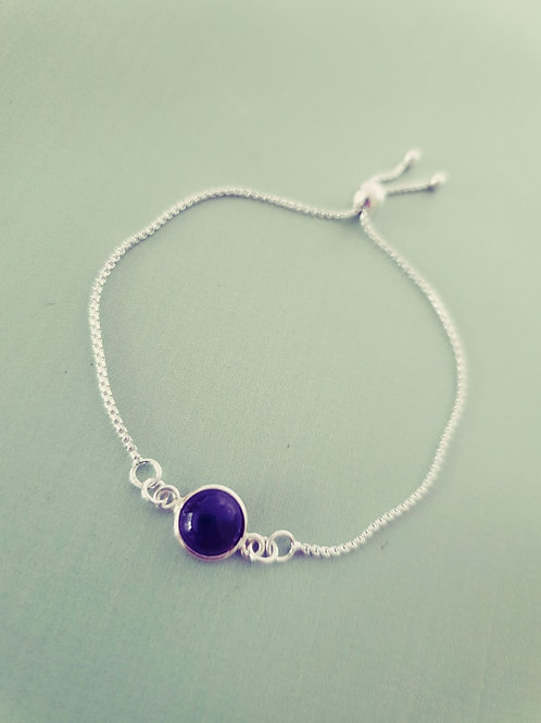Amethyst 925 Sterling Silver adjustable Bracelet
