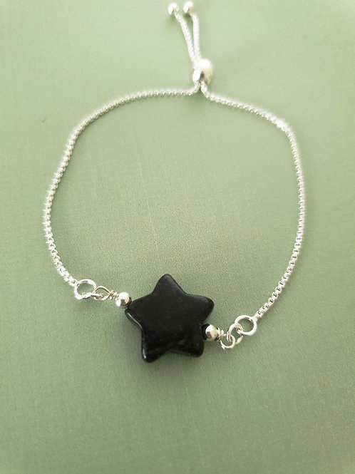 Black Jade items Bracelet with adjustable 925 Sterling Silver chain