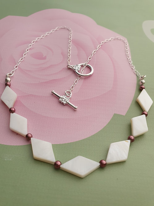 Shell & Pink Pyrite Necklace