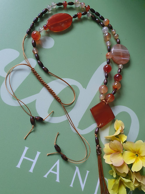Carnelian, Striped Agate with wood beads