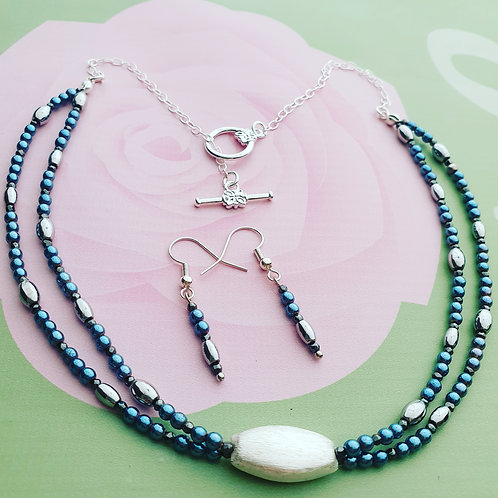 Double strand Heamatite Necklace with matching Earrings
