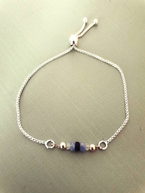 Sapphire Bracelet with adjustable Sterling Silver chain