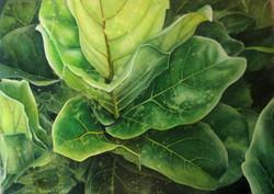 leaf green-woman art