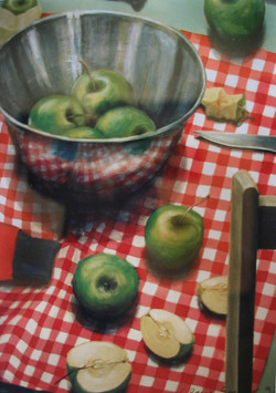 apples with checked cloth
