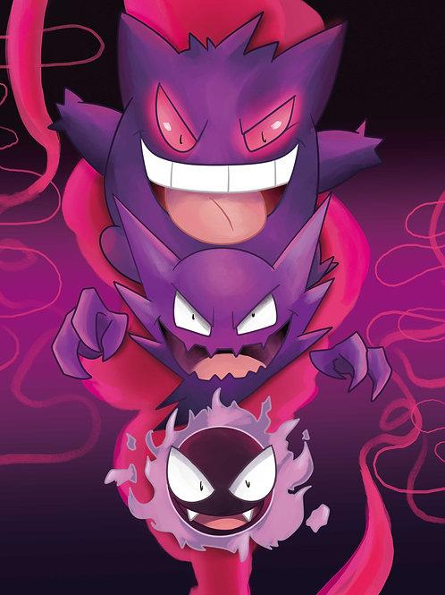 Ghostly Trio Pokemon Print