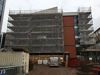 PACE Building Front Elevation Scaffolded