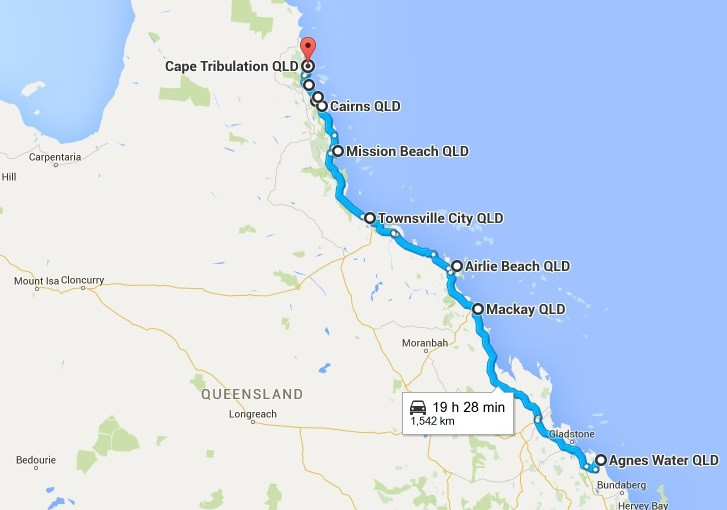 Road map from Agnes Waters to Cape Tribulation