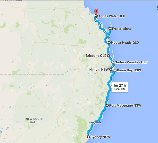 Road Map from Sydney to Agnes Waters