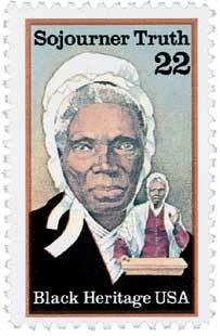 Francobollo commemorativo degli USA a Sojourney Truth, 1986. Ma molti sono i monumenti dedicati all'eroina: l'ultimo è del 2006 e fu inaugurato da Michelle Obama in Washington DC