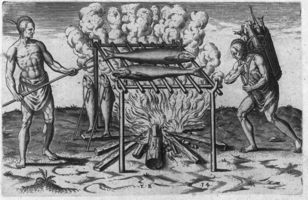 Molto fumo e poco arrosto. Questa è una delle prime iconografie risalenti al 1500 dove appare , molto semplificata, l'usanza del Barbecue.