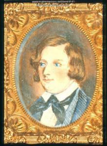 Un dipinto del giovane Longfellow a 13 anni, cos' come appariva sulla Gazzetta di Portland