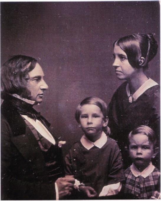 Henry Longfellow con Fanny e i primi due figli, Charles e Hernest. 1854 c.a.