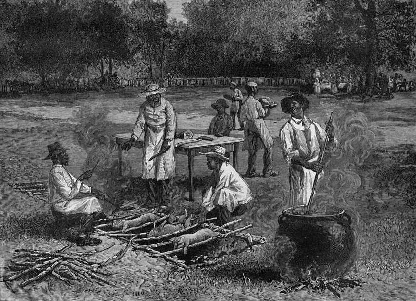 Molto più realistica questa scena di barbecue ambientata nel 1887 nella Virginia del Sud. Il dipinto, di Horace Bradley, mostra la fossa con sopra il tralicciato di canne, una tecnica ancora oggi usata in molti Paesi dell' America del Sud.