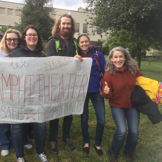 Stevenson High School Band Supporters Rally behind the Plaza Amphitheater