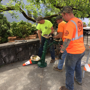 The City of Stevenson Assisting in the Install of the new Chase Drinking Fountain