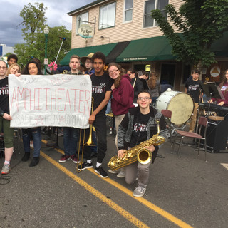 Stevenson High School Band Students Rally behind the Plaza Amphitheater