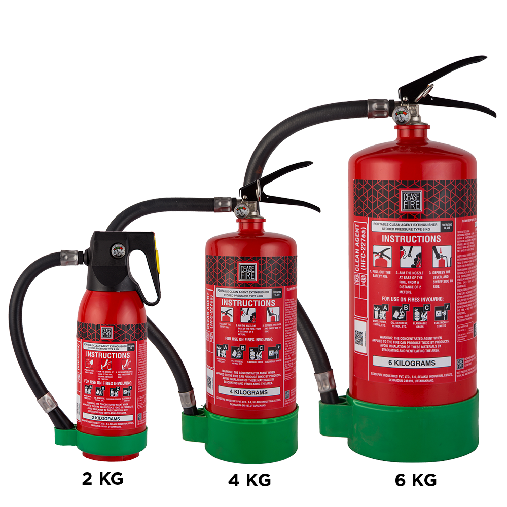 HFC227ea Clean Agent Based Portable (Stored Pressure Type) Fire  Extinguishers | Ceasefire Ind P Ltd.