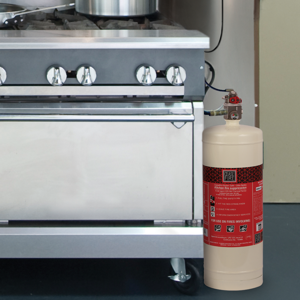 Wet Chemical Based Kitchen Fire Suppression (Pre-Engineered System) |  Ceasefire Ind P Ltd