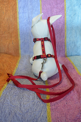 Red Harness and Leash with paw prints