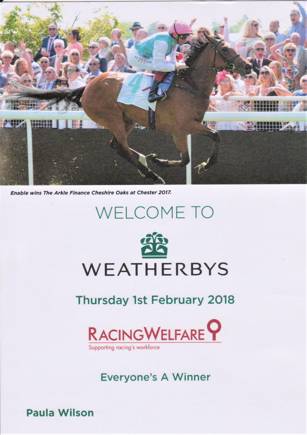 Trip to Weatherbys, Wellingborough on Feb 1st 2018