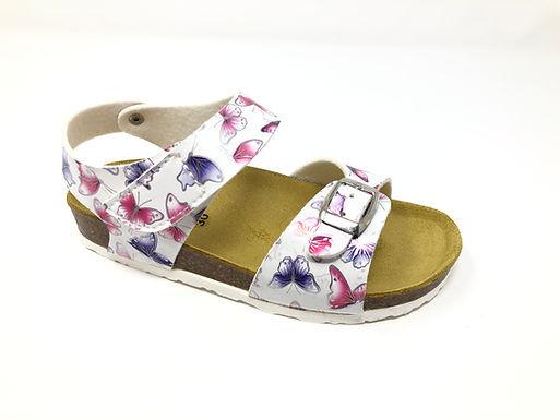 Sandalo da bambina bianco con farfalle dal 30 al 35 (GM43B-B)