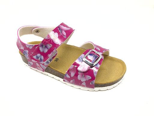 Sandalo da bambina con farfalle dal 30 al 35 NaturBio (GM43B-R)