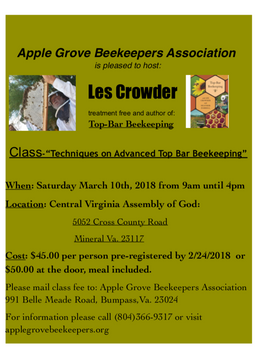We Are Pleased To Announce An Exceptional Educational Opportunity For Top Bar  Beekeepers And Want