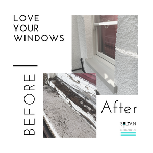 Before and after repairing a window frame. Rotten window. Repaired frame..